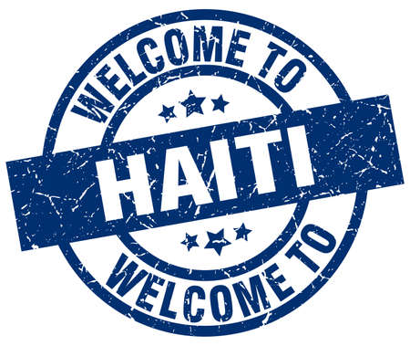 welcome to Haiti blue stamp Illustration