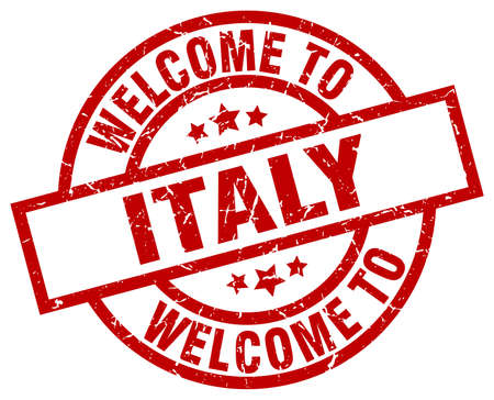 welcome to Italy red stamp