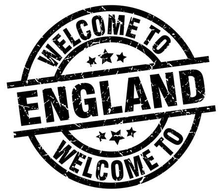 welcome to England black stamp