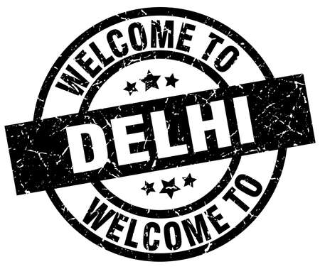 welcome to Delhi black stamp Illustration