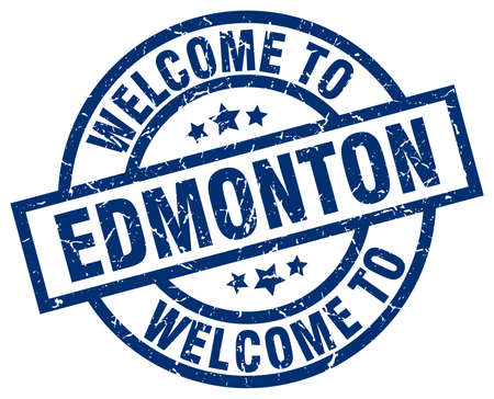 edmonton: welcome to Edmonton blue stamp Illustration