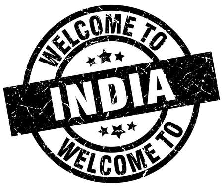 welcome to India black stamp