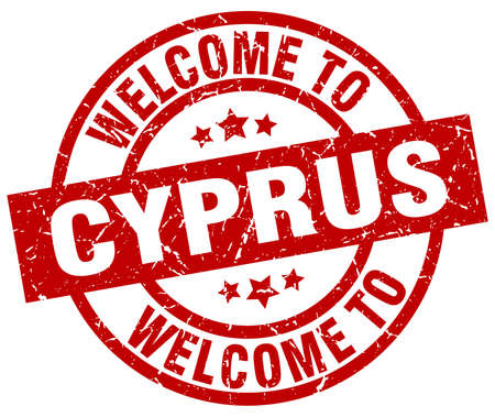 Welcome to Cyprus red stamp Çizim