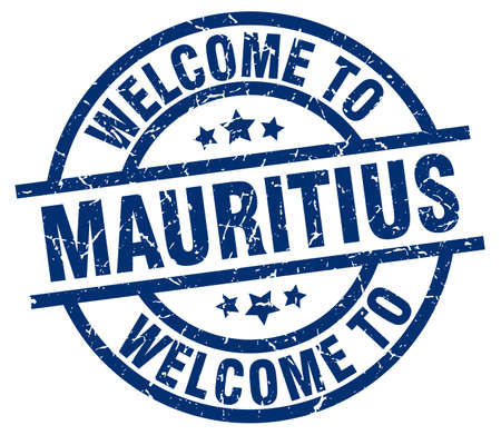 Welcome to Mauritius blue stamp Illustration
