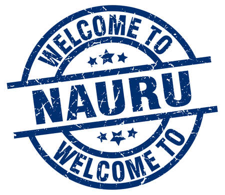 welcome to Nauru blue stamp Illustration
