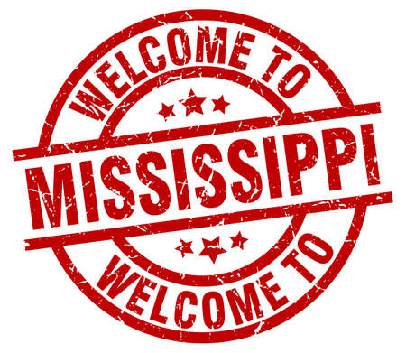 Een welkome aan Mississippi rode stempel. Stock Illustratie
