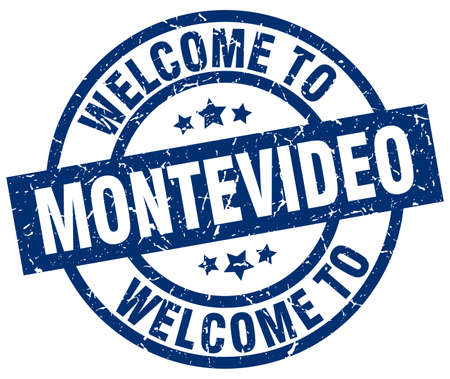 Welcome to Montevideo blue stamp