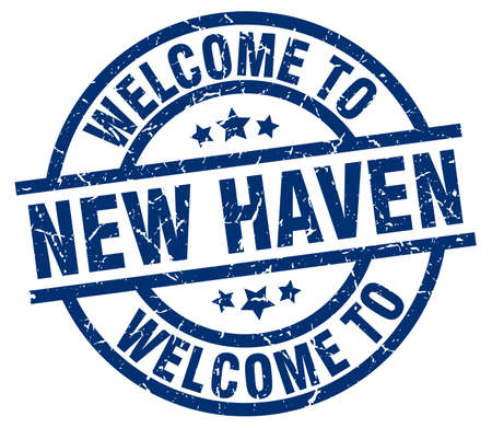 welcome to New Haven blue stamp Illustration
