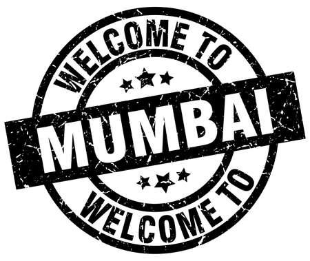 Welcome to Mumbai black stamp Illustration