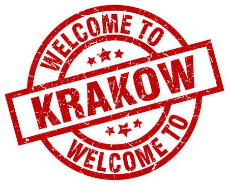 Bienvenue sur le timbre rouge de Cracovie. Banque d'images - 81138756