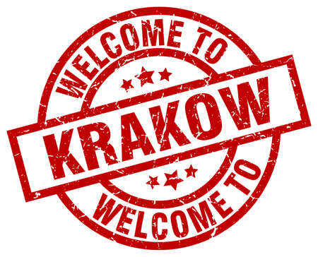 A welcome to Krakow red stamp.