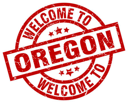 A welcome to Oregon red stamp.