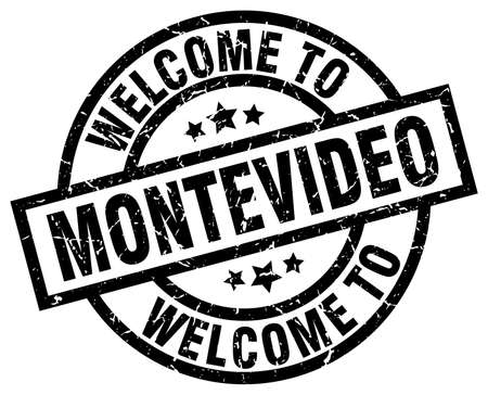 A welcome to Montevideo black stamp. Illustration