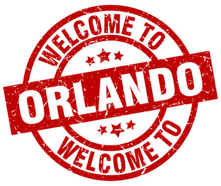 A welcome to Orlando red stamp.