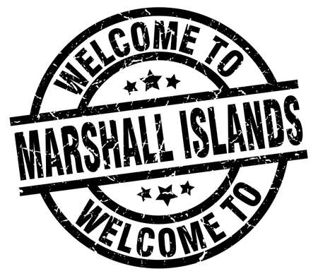 A welcome to Marshall Islands black stamp.