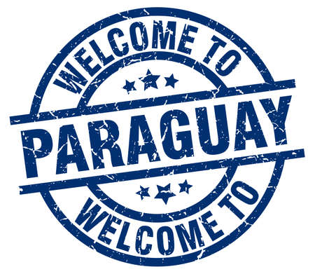 A welcome to Paraguay blue stamp.