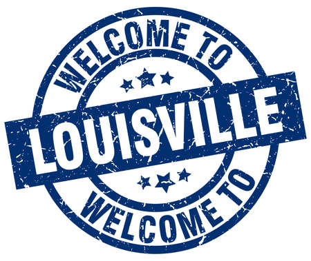 welcome to Louisville blue stamp Illustration