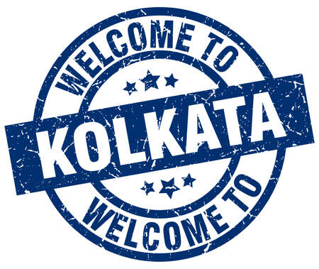 A welcome to Kolkata blue stamp. Illustration