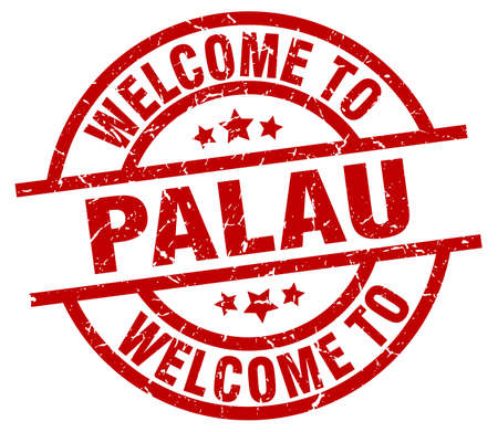 palau: A welcome to Palau red stamp. Illustration