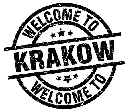 A welcome to Krakow black stamp.