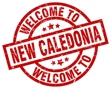 A welcome to New Caledonia red stamp. Illustration