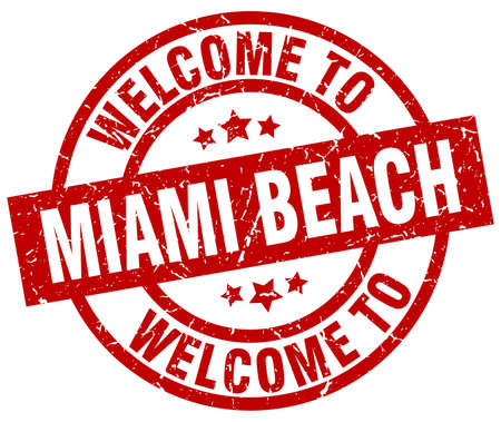 A welcome to Miami Beach red stamp.