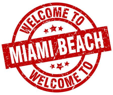 Welkom bij de rode stempel van Miami Beach. Stock Illustratie