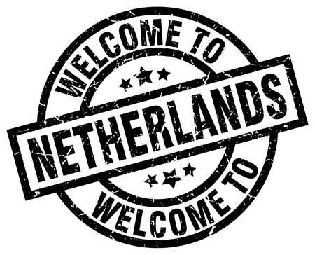 welcome to Netherlands black stamp Illusztráció