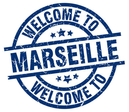 welcome to Marseille blue stamp Vector Illustration