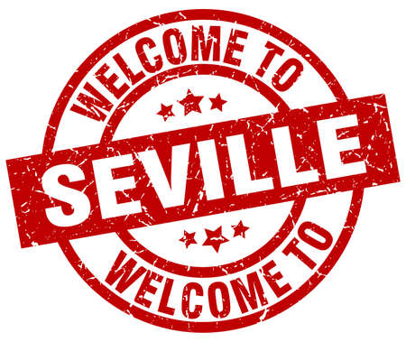 welcome to Seville red stamp