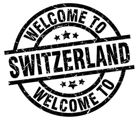 welcome to Switzerland black stamp Illustration