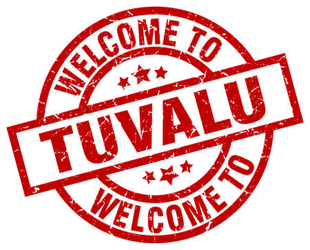 tuvalu: Welcome to Tuvalu red stamp