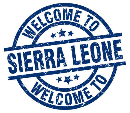 welcome to Sierra Leone blue stamp Illustration
