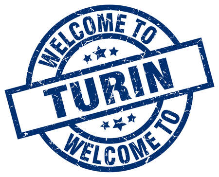 welcome to Turin blue stamp Illustration