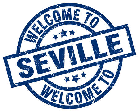 welcome to Seville blue stamp