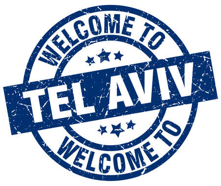 tel aviv: welcome to Tel Aviv blue stamp Illustration