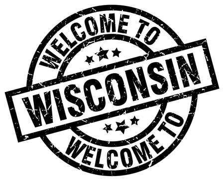 wisconsin: welcome to Wisconsin black stamp Illustration
