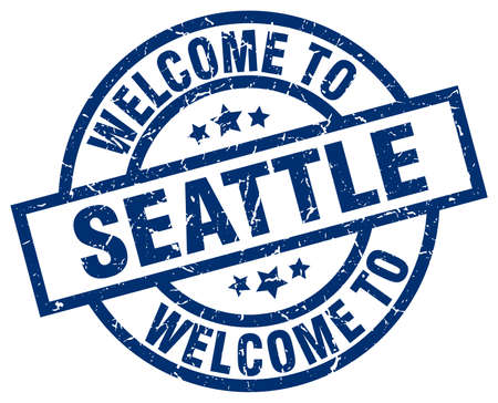 welcome to Seattle blue stamp