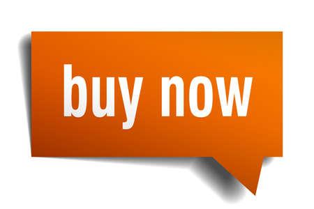 buy now orange 3d square isolated speech bubble Stock Illustratie