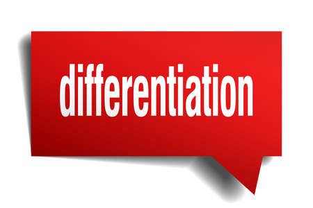 differentiation red 3d square isolated speech bubble