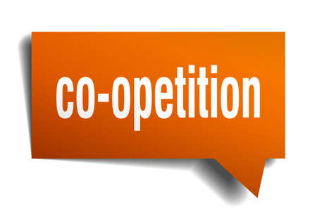 co-opetition orange 3d square isolated speech bubble