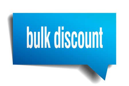 Bulk discount blue 3d square isolated speech bubble 矢量图像