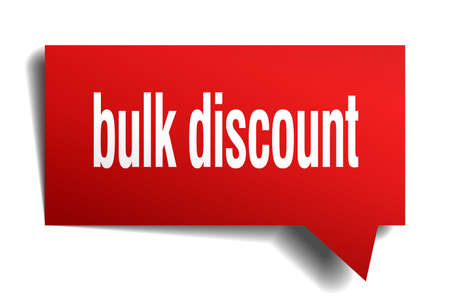 bulk discount red 3d square isolated speech bubble