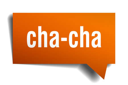 cha-cha orange 3d square isolated speech bubble