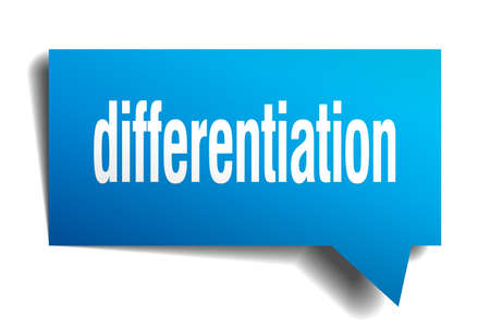 Differentiation blue 3d square isolated speech bubble