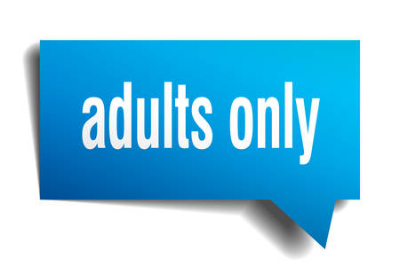 adults only blue 3d square isolated speech bubble