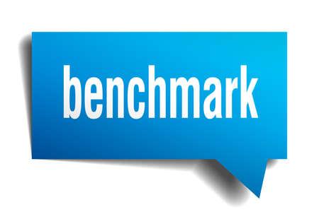 benchmark blue 3d square isolated speech bubble Vektorgrafik