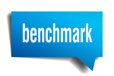 benchmark blue 3d square isolated speech bubble Illustration