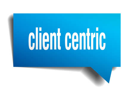 client centric blue 3d square isolated speech bubble