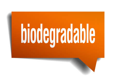 biodegradable orange 3d square isolated speech bubble